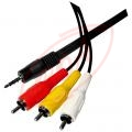JACK 3,5 mm stereo – 3 x RCA 1,5 m